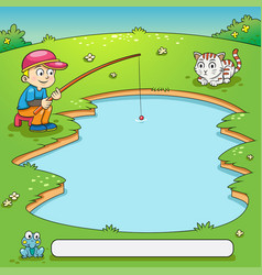 frame design with boy and his dog fishing vector image