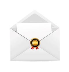 Envelope with golden stamp vector