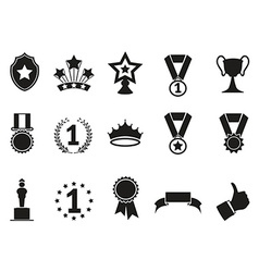 Black award icons set vector
