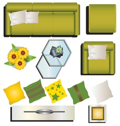 Living room furniture top view set 9 for interior vector