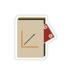 Stylish sticker on paper financial report and vector