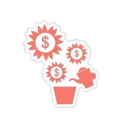 Paper sticker on white background money tree vector