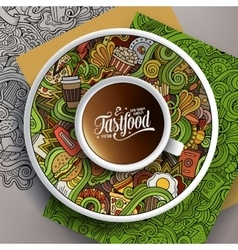 Cup of coffee and hand drawn fastfood doodles vector