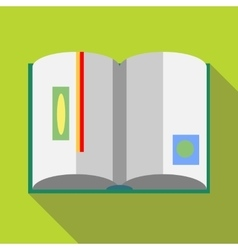 Open book with red bookmark icon flat style vector