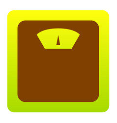 Bathroom scale sign brown icon at green vector