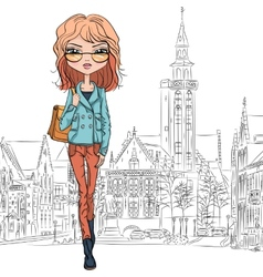 Beautiful fashion girl in bruges vector