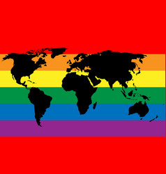 Black world map silhouette on lgbt rainbow pride vector