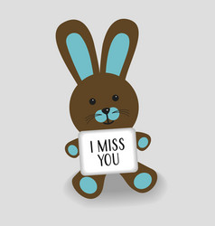 blue bunny with message i miss you vector image vector image