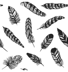Boho feather hand drawn effect style vector image vector image