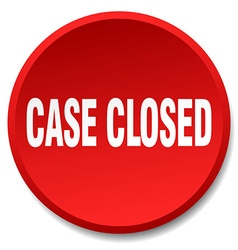 Case closed red round flat isolated push button vector