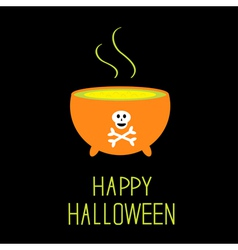 Cauldron with green potion Happy Halloween card vector image