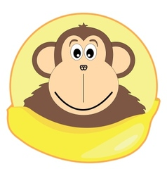 Childrens of a monkey with a banana vector