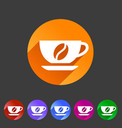 Coffee cup coffee bean icon flat web sign symbol vector