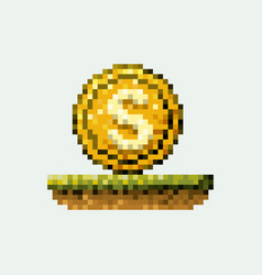 color pixelated coin with symbol in meadow vector image