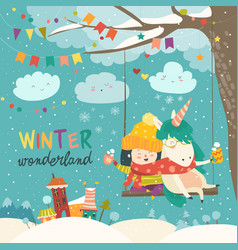 Cute girl and unicorn swinging in winter park vector