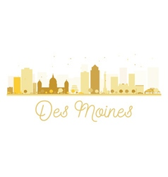 Des moines city skyline golden silhouette vector