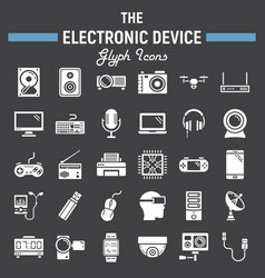 electronic device solid icon set technology vector image vector image
