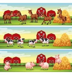 Farm animals in the farmyard vector