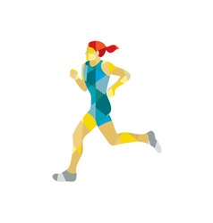 Female Triathlete Marathon Runner Low Polygon vector image vector image