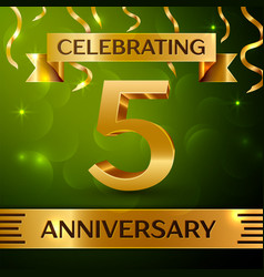 five years anniversary celebration design vector image