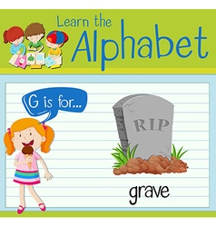 Flashcard alphabet g is for grave vector