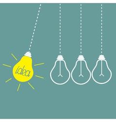 Four hanging light bulbs perpetual motion idea vector