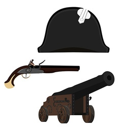 Hat canon and musket vector