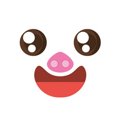 Kawaii face piggy animal expression icon vector