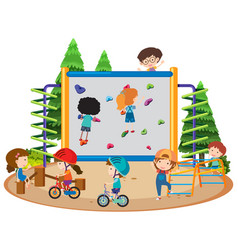 Many children riding bike and climbing wall in vector