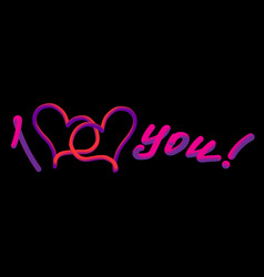 neon i love you vector image