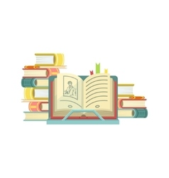 Open Book With Piles Of Books On The Background vector image vector image