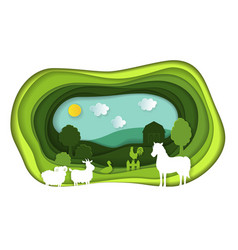 Paper art carving of lanscape with farm animals vector