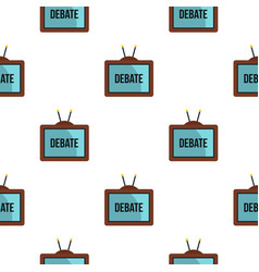 Retro tv with debate word on the screen pattern vector