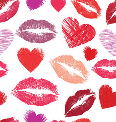 Seamless pattern with lips and hearts vector image vector image
