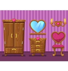 Set cartoon girlish pink living room vector