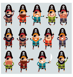 Set of flat pirate icons vector