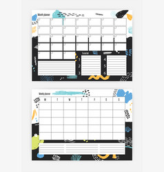 set of horizontal month and weekly planner vector image