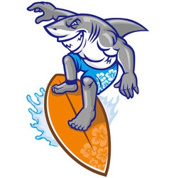 shark surfer vector image