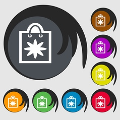 shopping bag icon sign Symbol on eight colored vector image