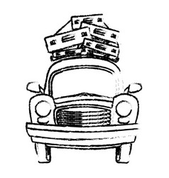 Sketch vintage car with suitcases on top traveling vector