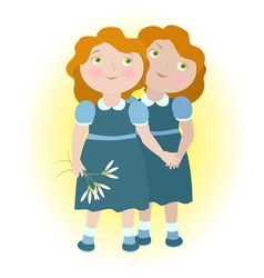 Twin girls holding hands zodiac sign gemini vector