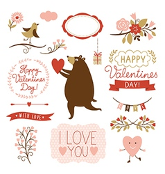 Valentines day graphic elements set vector image vector image