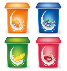 yogurt packaging design template with caramel vector image