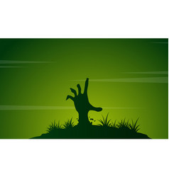 Zombie with green background halloween vector