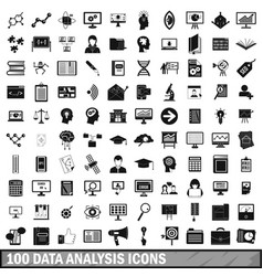 100 data analysis icons set simple style vector
