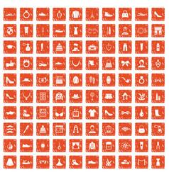 100 vogue icons set grunge orange vector