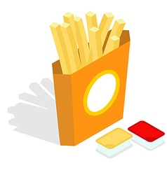 French fries isometrics slices of roasted potatoes vector
