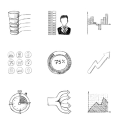 Office icons set hand drawn style vector