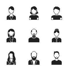 Avatar set icons in black style big collection of vector
