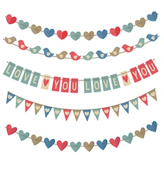 Set of isolated vintage garlands on valentines day vector